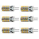 3W G4 LEDコーン型電球 T 24 SMD 2835 160-190 lm 温白色 / クールホワイト 明るさ調整 DC 12 V 6個