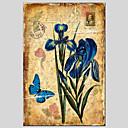 手描きの 花柄/植物のクラシック / トラディショナル / 欧風 / Modern 1枚 キャンバス ハング塗装油絵 For ホームデコレーション