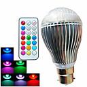 9W B22 LEDボール型電球 A60(A19) 3 ハイパワーLED 500 lm RGB 装飾用 / 明るさ調整 / リモコン操作 AC 100-240 V 1個