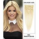 """22 """"7ks 80g # 24 středně blond rovné 100% remy vlasy klip v prodlužování vlasů"""