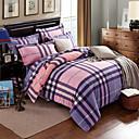 熱い販売の寝具セットのチェック模様の反応印刷はコットン100%の生地ジョーゴ・ド・CAMAベッドがホーム4個のクイーンサイズをカバー寝具