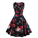 Dámské Vintage / Šik ven Běžné/Denní / Velké velikosti Swing Šaty Květinový,Bez rukávů Kulatý Nad kolena Červená / Bílá / Béžová / Černá