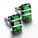 muške modne zeleni kristal srebrni aluminijski francuski shirt manžete (1 par)