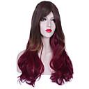 女性のための自然な長いマルチカラーの人気の波合成かつら
