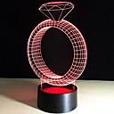 kreativní diamantový prsten 3d vedl barevné noční světlo dotykového spínače