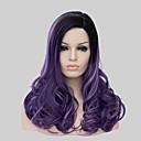 černé kudrnaté vlasy paruka sada s přechodem fialové módy parukou