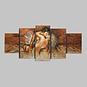 手描きの 抽象画 縦長,クラシック トラディショナル 5枚 ハング塗装油絵 For ホームデコレーション