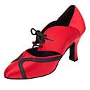 Nemoguće personalizirati-Ženske-Plesne cipele-Latino / Salsa-Umjetna koža / Svjetlucave šljokice-Deblja visoka potpetica-Crvena