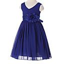 2017ラインの茶長さのフラワーガールのドレス - フラワー(S)/サッシ/リボン付シフォンノースリーブVネック