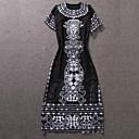 Dámské Čínské vzory Běžné/Denní A Line Šaty Tisk,Poloviční délka rukávu Kulatý Maxi Černá Polyester Podzim Mid Rise Neelastické Střední
