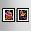 Cvjetni / Botanički Uokvireno platno / Uokvireni set Wall Art,PVC Crna Stalak uključen s Frame Wall Art