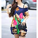 婦人向け カジュアル/普段着 夏 Tシャツ,シンプル / ストリートファッション ラウンドネック フラワー / プリント マルチカラー シルク 半袖 薄手
