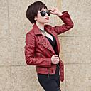 Veste Femme,Couleur Pleine Habillées simple Hiver Manches Longues Col de Chemise Rouge / Blanc / Noir Cuirs Particuliers Fin