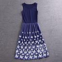 Jednoduchý demo jít ven roztomilé plášť dressfloral midi bez rukávů modré umělé hedvábí / polyester léto výškové