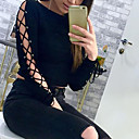 Majica s rukavima Žene,Seksi Klub Jednobojni-Dugih rukava Okrugli izrez-Jesen / Zima Crna Srednje Poliester
