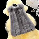 Krzneni kaput Žene,Jednostavno Ležerno/za svaki dan Jednobojni-Bez rukávů Zima-V izrez Ružičasta / Bijela / Crna / Siva SrednjeUmjetno