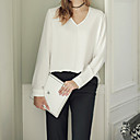 Women's Going out / Casual/Daily Sexy / Simple / Cute T-shirt,Solid V Neck Long Sleeve White / Black Cotton / Polyester