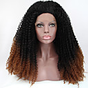 シルビア合成レースフロントかつら黒褐色オンブル髪耐熱変態巻き毛の合成かつら