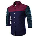 Muži Barevné bloky Běžné/Denní Jednoduché Košile Bavlna Hranatý Dlouhý rukáv Modrá / Červená Střední