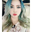 vruće korean šminker poni ljepota dnevnik ombre duge kose prirodnog izgleda val Cosplay plava zelena boja modni djevojka kosa otporne na