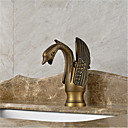 Art Deco / Retro Središnje pozicionirane Waterfall with  Keramičke ventila Jedan Ručka jedna rupa for  Antique Brass , Kupaonica Sudoper