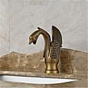アールデコ調/レトロ風 センターセット 滝状吐水タイプ with  セラミックバルブ シングルハンドルつの穴 for  アンティーク真鍮 , バスルームのシンクの蛇口