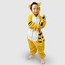 着ぐるみ パジャマ Tiger レオタード/着ぐるみ イベント/ホリデー 動物パジャマ Halloween ブラック / イエロー パッチワーク フランネル きぐるみ のために 子供用 ハロウィーン