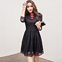 Women's Going out Casual/Daily Vintage Chinoiserie Lace Dress Solid Round Neck Above Knee  Sleeve Red Black Spring Summer