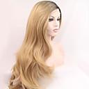 シルビア合成レースフロントかつら黒い根ブロンドの髪オンブルヘア耐熱長い自然の波の合成かつら