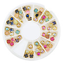 60pcs barevné perla metal nákližkem nail art dekorace