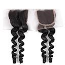 8-24inch Černá Volné vlny Remy vlasy Uzavření Středně hnědá Švýcarská krajka 30g gram Cap Velikost