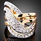 Prsteny s kamenem Zirkon Pozlacené imitace Diamond 24K Plated Gold Slitina Módní Barva obrazovky Šperky Párty 1ks