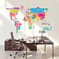 ウォールステッカーウォールステッカー、色の文字の世界地図PVCウォールステッカー