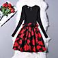 Winter Fashion Women Maple Leaf Printing Wild Slim Round Neck Long Sleeve Work Dress