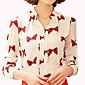 Majica Ženski,Jednostavno Ležerno/za svaki dan Cvjetni print-Dugih rukava Ruska kragna-Proljeće Bijela / Crna Srednje Drugo