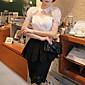 dabuwawa ženske čvrsta bijela košulja, ovratnik košulje kratki rukav