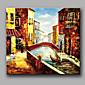 Ručno oslikana Pejzaž Kvadrat,Rustikalni Europska Style Klasika Jedna ploha Hang oslikana uljanim bojama For Početna Dekoracija
