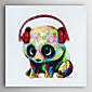 ručně malované olejomalba zvíře panda s headsetem s nataženém rámem 7 stěny arts®