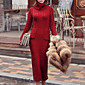 Žene Jednostavno Ležerno/za svaki dan Duga Kardigan,Crvena Jednobojni Dolčevita Dugih rukava Pamuk Jesen / Zima Srednje