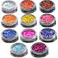 1 sada celkem 11 lahví nail art zápas barevné zvýraznění lesk zářící barevný prášek na nehty make-up krásu 01-11
