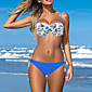 Ženski Bikini-Bandeau grudnjak-Push-up / Podstavljeni grudnjak / Grudnjak sa žicom-S cvjetnim printom-Najlon / Spandex