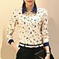 Majica Ženski,Plus veličine Rad Životinjski uzorak-Dugih rukava Kragna košulje-Sva godišnja doba Bež Tanko Poliester