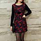 Žene Vintage Ležerno/za svaki dan / Plus veličine Korice Haljina,Print Dugih rukava Okrugli izrez Iznad koljena Crvena / Zelena Poliester