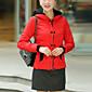 コート レギュラー パッド入り 女性,カジュアル/普段着 ソリッド ポリエステル ポリプロピレン-シンプル 長袖 フード付き ブルー / ブラック