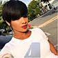 100% přírodní černé krátké vlasy paruky odolný paruku tepla pro ženy, krátké vlasy řezané paruky hot prodej