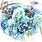 "Cvijeće za vjenčanje Krug Kaskada Roses Buketi Vjenčanje Party / Večernji Polyester 9.06 ""(Approx.23cm)"