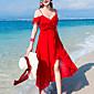 Dámské Jednoduché Plážové Dovolená Šifón Šaty Jednobarevné,Bez rukávů Bez ramínek Maxi Hedvábí Jaro Léto Mid Rise Neelastické Střední