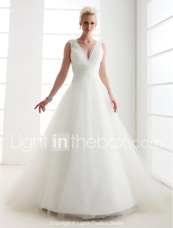 a line wedding dresses princess wedding dress LAN TING BRIDE Princess Wedding Dress Classic Timeless Vintage Inspired Floor length V